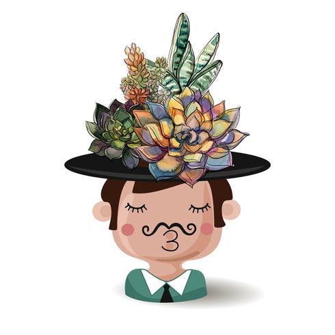 Jongen met bloemen vetplanten. Waterverf. Vector illustraties.