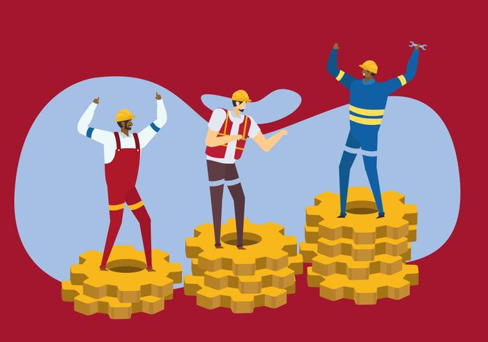 Celebrate Labour Day Vector Flat Character Design