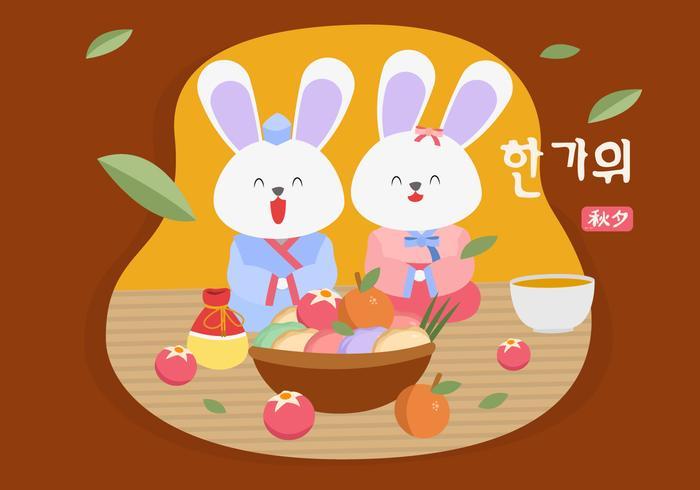 Conejos lindos saludos feliz Chuseok Vector Illustration