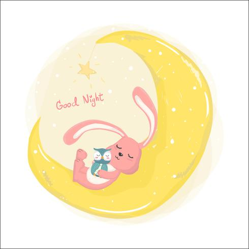cute bunny sleeping on crescent the moon with cute owl flat vector