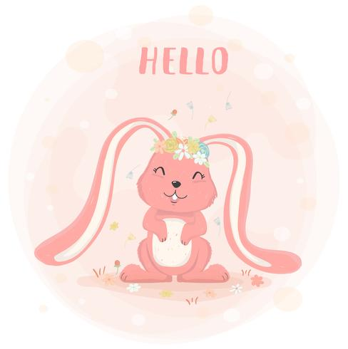cute bunny with flower crown in spring  flat vector