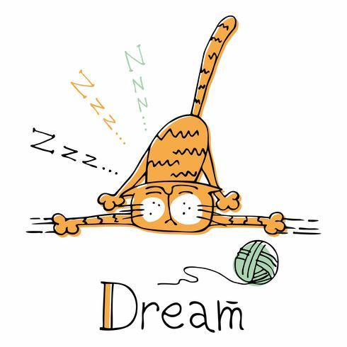 Sonno del gatto divertente del fumetto. Stile carino Vettore.