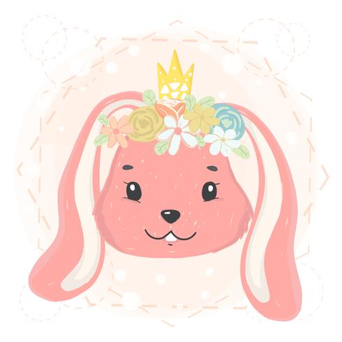 image relating to Bunny Face Printable identify lovely bunny encounter with flower wreath and crown within just spring flat