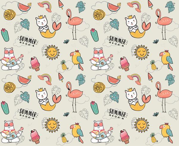 Doodle lindo verano colección patrón inconsútil vector plano ilustración