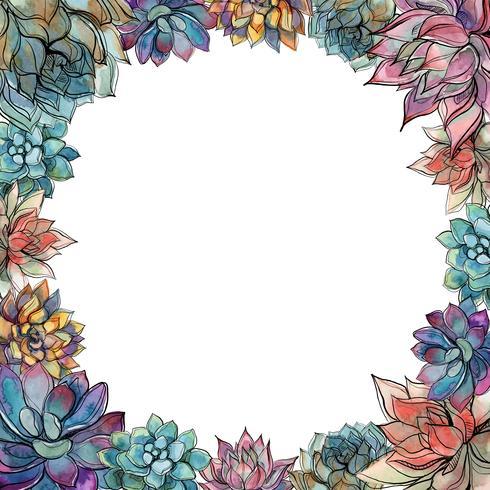 Runda ram gjord av succulenter. Holiday kort. Vattenfärg. Grafik. Vektor. vektor