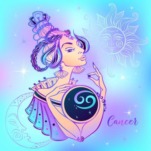 Signo del zodiaco cáncer niña hermosa. Horóscopo. Astrología. vector