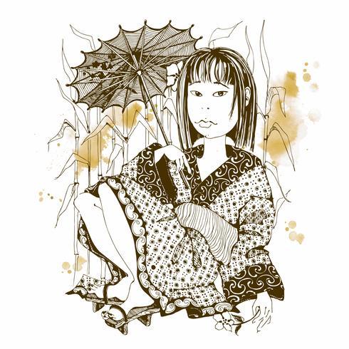 Fille japonaise en kimono avec parapluie. Vecteur.