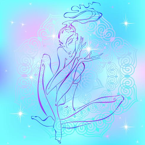 Meditación. Chica meditando. Energía de Reiki. Curación. Esoterista Vector