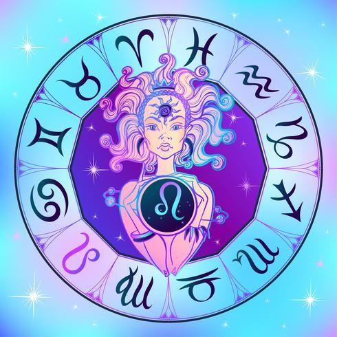 Zodiac sign Leo a beautiful girl. Horoscope. Astrology. Vector.