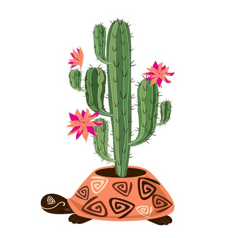 Flowering cactus in pot the form of a turtle. Vector
