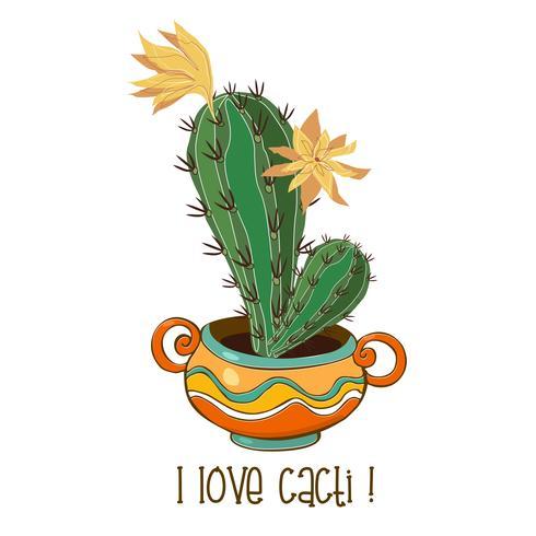 Cactus en una bonita olla de barro. Inscripción. Me encantan los cactus. Vector