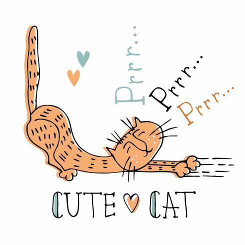 Style doux chat espiègle. Illustration vectorielle