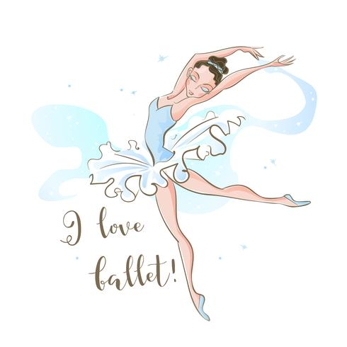 Little ballerina. Ballet. Dancing. I love ballet . Inscription. Vector.