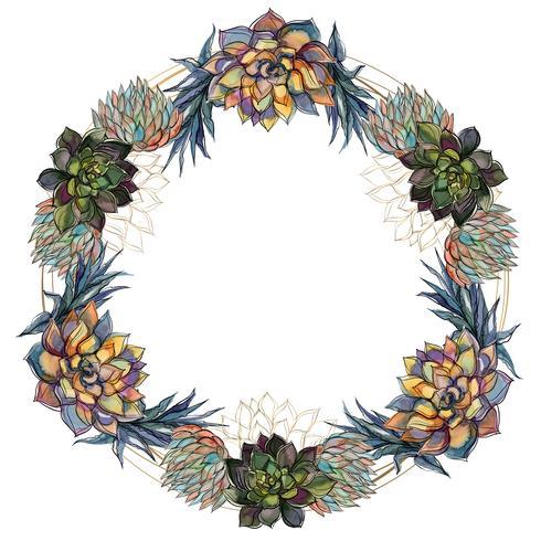 Guirnalda de flores de suculentas marco festivo. Vector. vector