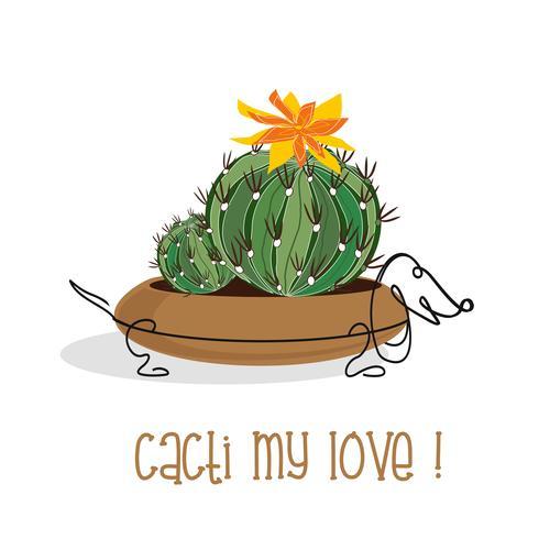 Cactus fiorito in una pentola sotto forma di un cane. Vettore