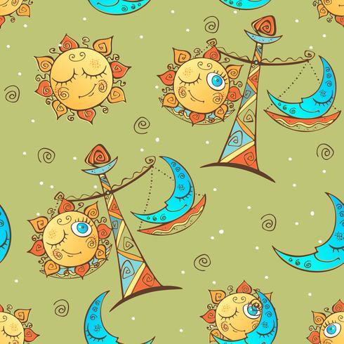 Sun moon Libra . Children's fun seamless pattern. Vector.