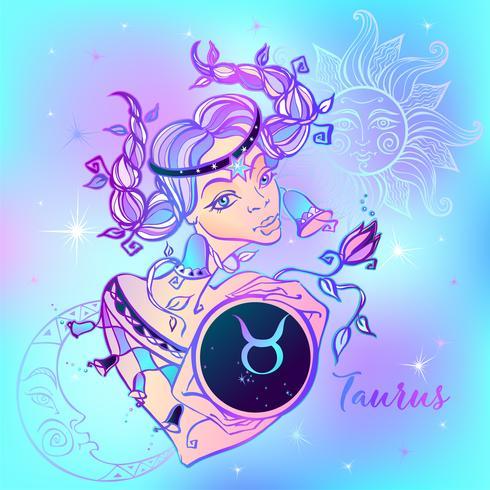 Signo del zodiaco Tauro una niña hermosa. Horóscopo. Astrología. Vector