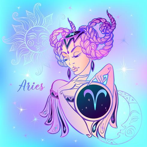 Zodiac sign Aries a beautiful girl. Horoscope. Astrology. Vector.