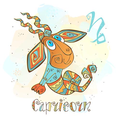 Children's horoscope icon. Zodiac for kids. Capricorn sign . Vector. Astrological symbol as cartoon character.