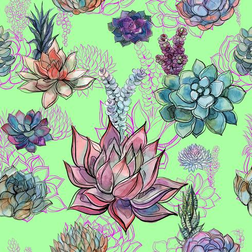 Watercolor pattern of succulent flowers.