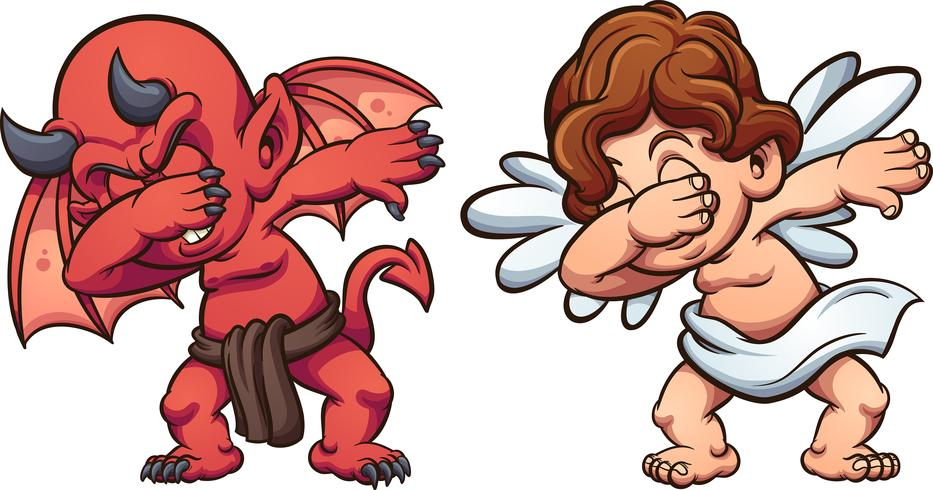 dabbing angel and devil vector
