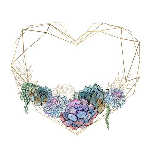 Cornice cuore oro con succulente. San Valentino. Watercolor.Graphics. Vettore.