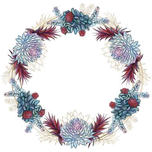 Flower wreath of succulents festive frame. Vector.
