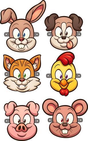 Cartoon dierlijke maskers