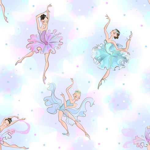 Ballerinas. Seamless pattern. Little princess. Dance. Vector illustration