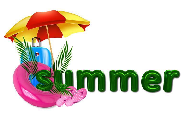 Ilustración de verano con inscripción en 3D, hojas de palmera, círculo de natación y una maleta y sombrilla. vector