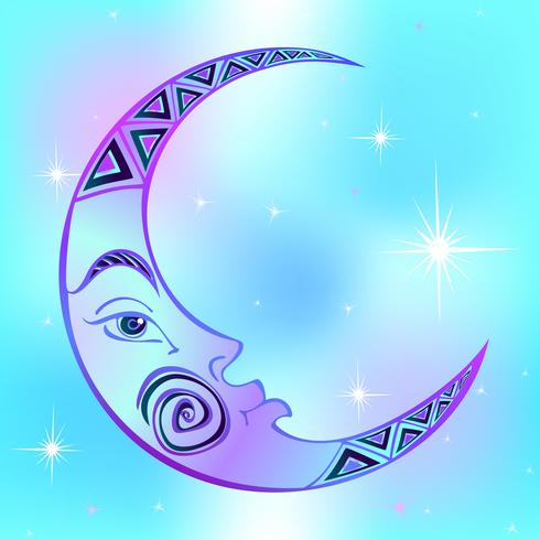 Moon. Month. Ancient astrological symbol. Engraving. Boho Style. Ethnic. The symbol of the zodiac. Esoteric Mystical. Vector