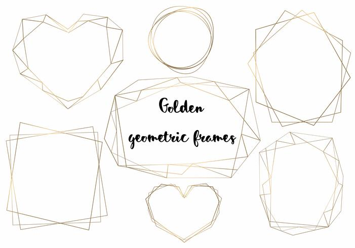Geometric gold frames. Samples for cards and invitations. Vector. vector