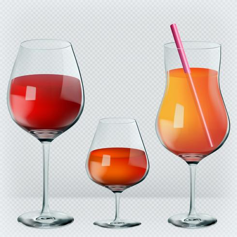 Set of drinks in transparent realistic glasses. Wine, cognac, cocktail. Vector illustration.