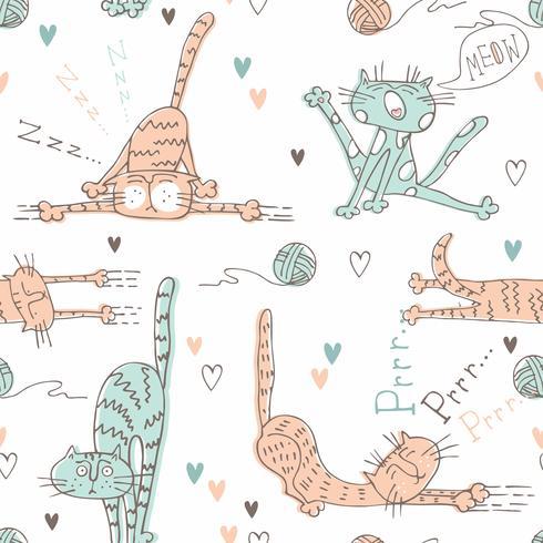 Muster für Kinder mit süßen Katzen. Vektor.