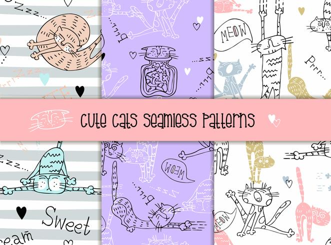 Set of seamless patterns of cats in a cute style. Vector.