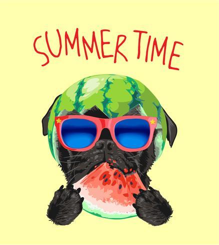 zwarte pug hond in zonnebril en watermeloen illustratie