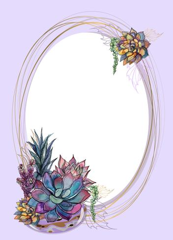 Oval gold frame with succulents. Vector illustration.