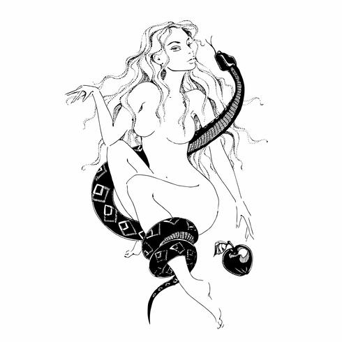Girl with a snake and an apple. Eve.Graphics. Tattoo . Vector.