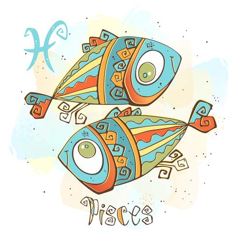 Children's horoscope icon. Zodiac for kids. Pisces sign . Vector. Astrological symbol as cartoon character.