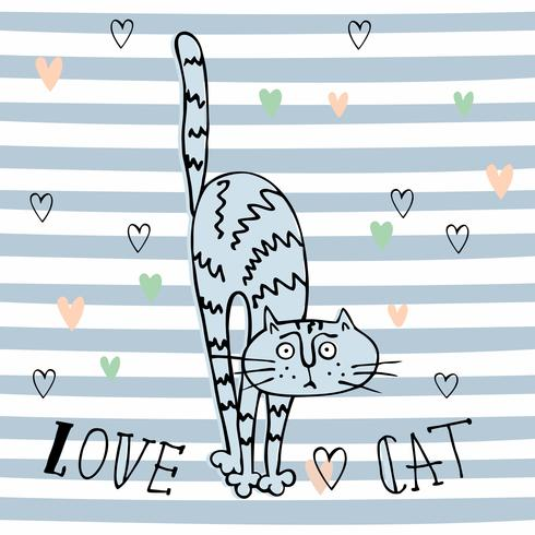 Cheerful Doodle cat in a cute style. Striped background. Vector