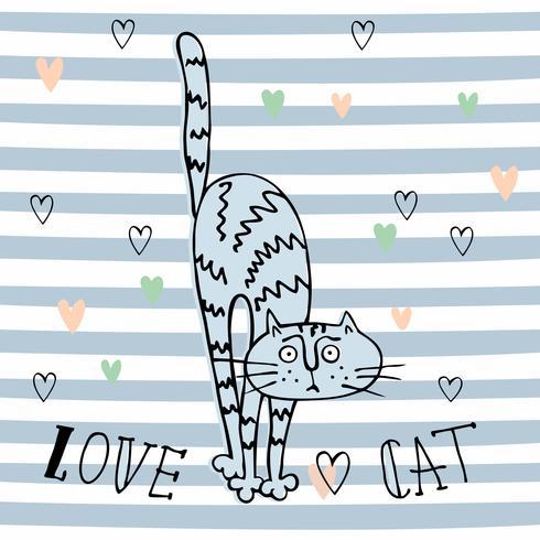 Gato alegre del Doodle en un estilo lindo. Fondo de rayas Vector