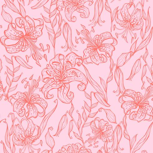 Seamless pattern. Lilies on pink background. Vector.