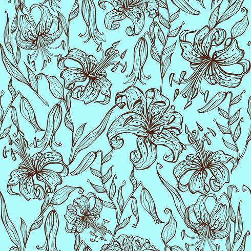 Modèle sans couture de fleurs de Lys sur fond turquoise. Vecteur.