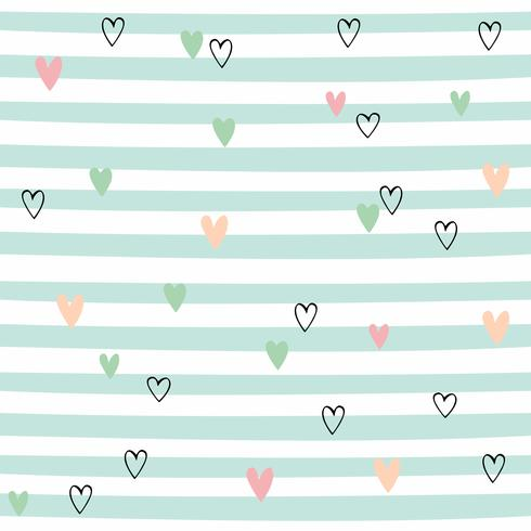 Striped seamless pattern with hearts. Cute pattern with green stripes. Vector