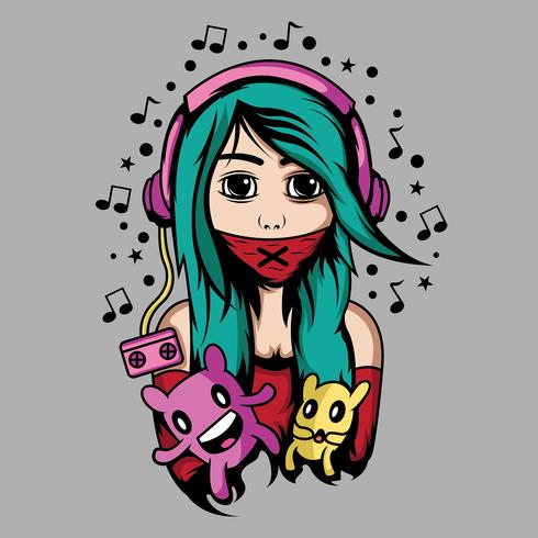 Cute girl with headphone and cute doll vector