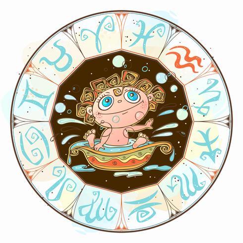 Zodiac for kids. Aquarius sign . Vector. Astrological symbol as cartoon character