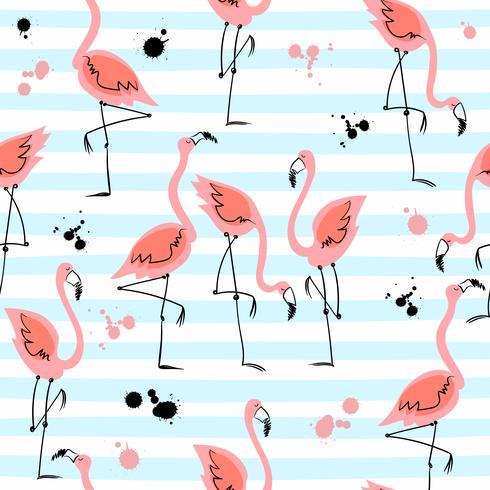 Modèle sans couture avec des flamants roses sur fond rayé. Motifs d'été. Vecteur