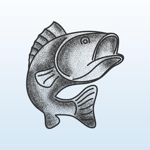 Fish Bass Stipple SShading vector