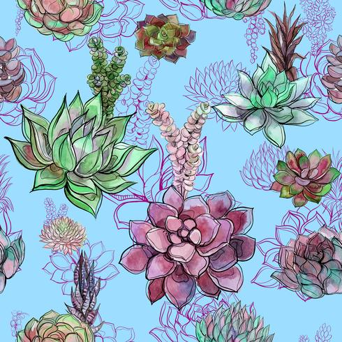 Seamless pattern with succulents on blue background