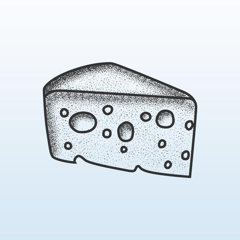 Cheese Slice Stipple Shading  vector